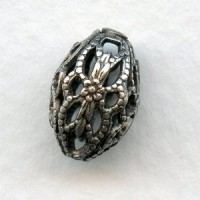 Oval Filigree Beads 12x8mm Oxidized Silver (6)