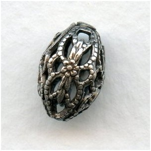 *Oval Filigree Beads 12x8mm Oxidized Silver (12)