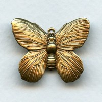 Butterfly Pendant Raised Wings Oxidized Brass (4)