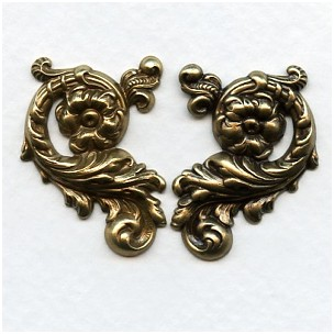 Ornate Floral Right and Left Flourishes Oxidized Brass (1 set)