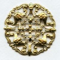 Ornately Detailed Round Filigree Stamping Raw Brass (1)