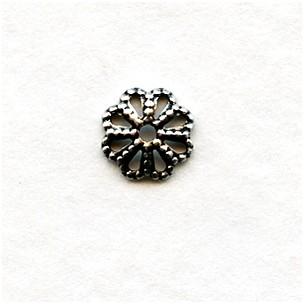 Flower Shaped 6mm Oxidized Silver Filigree Bead Caps (50)