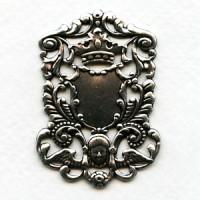 Crown and Cherub Royal Plaque Oxidized Silver 51mm (1)