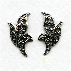European Filigrees Oxidized Silver 20mm Leaves (2)