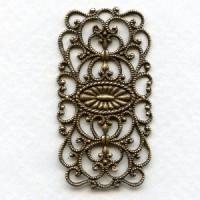 European Filigree Rectangle 44mm Oxidized Brass (1)