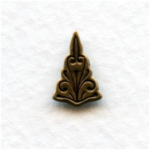 Triangle Embossed Stampings Oxidized Brass 12x8mm (12)