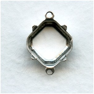 Square Octagon 10mm Setting Connectors Oxidized Silver (12)