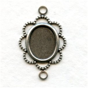 Filigree Setting Connector 10x8mm Oxidized Silver (12)