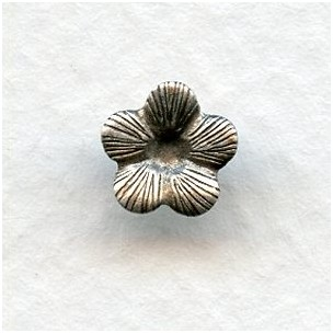 *Tiny Flowers 7mm Oxidized Silver with Textured Petals (24)