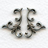 Leafy Sprigs Right and Left Flourishes Oxidized Silver (1 set)