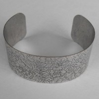Floral Embossed Oxidized Silver Cuff 29mm