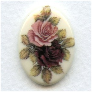 Victorian Style Floral Painting 25x18mm (1)