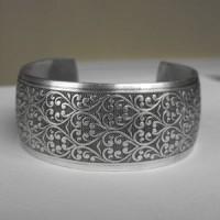 Embossed Oxidized Silver Cuff Bracelet 25mm Wide (1)