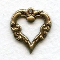 Fancy Heart Pendant Drop Oxidized Brass 18mm