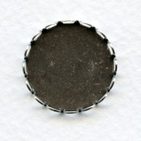 Lace Edge Settings 20mm Round Oxidized Silver (6)
