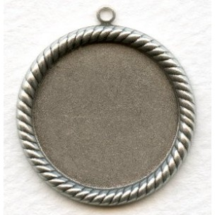 Round 25mm Rope Edge Settings Oxidized Silver (6)