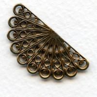 Filigree Fan Shape Oxidized Brass 38mm (6)