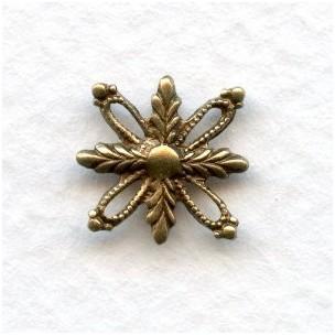 Foliate Detail Oxidized Brass 14mm (6)