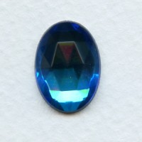 Bermuda Blue Flat Back Faceted Top 18x13mm