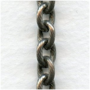 Textured Cable Chain Antique Silver 8x7mm Links