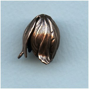 Dramatic Size Leaves Bead Caps Oxidized Copper (3)