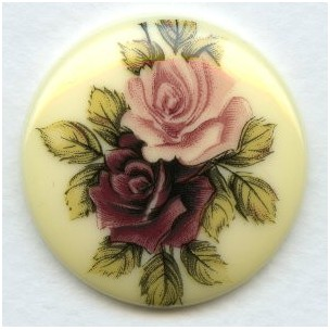 Victorian Style Floral Painting Decal on Resin 35mm (1)