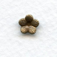 Tiny Flowers 7mm Oxidized Brass with Textured Petals (24)