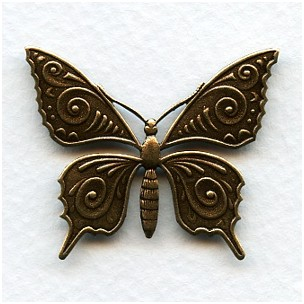 Ornate Butterfly Stamping Oxidized Brass 36mm (3)