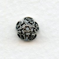 Victorian Style Filigree 8mm Bead Caps Oxidized Silver (12)