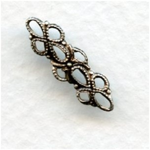 Dainty Filigree Connectors 20mm Oxidized Silver (12)