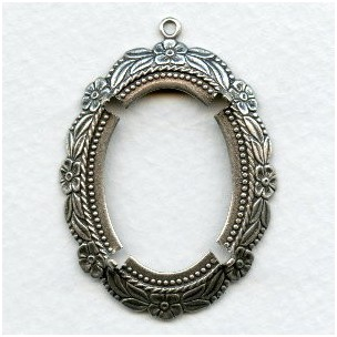 Floral Beaded Edge Setting 30x22mm Oxidized Silver (1)