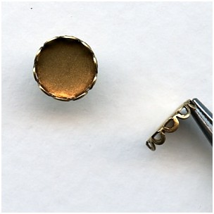 Lace Edge Settings for 7mm Rounds Oxidized Brass (12)