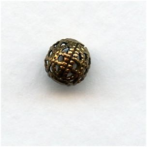 Dramatic Filigree Beads Round 6mm Oxidized Brass