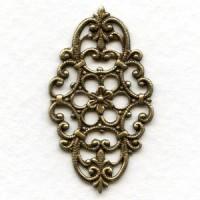 Oval Filigree Design Oxidized Brass 38x21mm