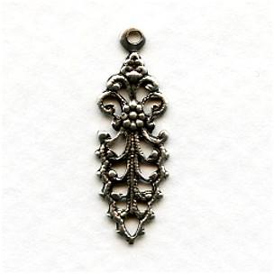 Fancy Filigree Pendant Drop 25mm Oxidized Silver (12)