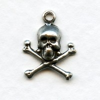 Skull and Crossbones Oxidized Silver with Loop (12)