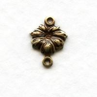 Tiny Flower Connectors Oxidized Brass (12)