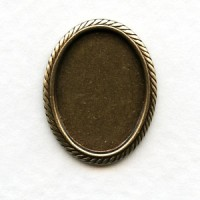 Rope Edge Setting Base for 18x13mm Oxidized Brass (6)