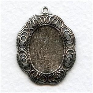 Filigree Edge Settings 18x13mm Oxidized Silver (6)