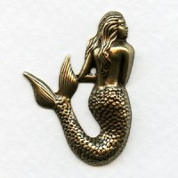 Small Mermaid Stampings Oxidized Brass 35mm (3)