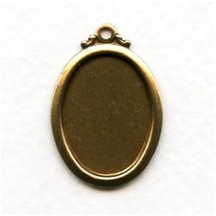 Elegant Simple Setting Pendants 18x13mm Oxidized Brass