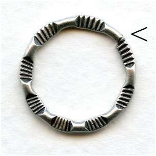 Detailed Flat Jump Ring 20mm Oxidized Silver (6)