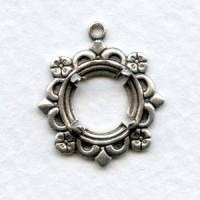Delicate Fancy 9mm Round Settings Oxidized Silver (2)