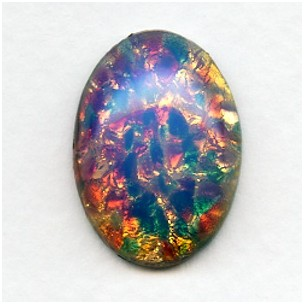 Pink Fire Opal Glass Cabochon 25x18mm