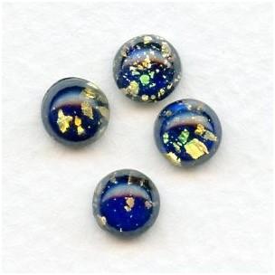 Dark Blue Glass Opal Cabochons Handmade 7mm (4)
