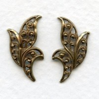*European Filigrees Oxidized Brass 20mm Leaves (1 set)