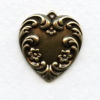 Floral Detail Heart Pendants Oxidized Brass 21mm (2)