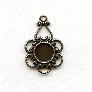 Delicate 5mm Setting Pendants Oxidized Silver (12)