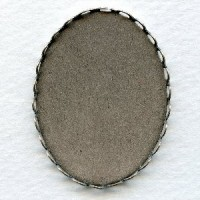 Lace Edge Settings 40x30mm Oxidized Silver (6)