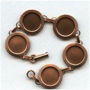 Bracelet Finding 15mm Settings Oxidized Copper